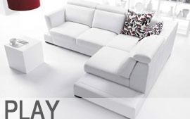 Meble GALA wypoczynkowe narożnik, sofa 3F, sofa 2, fotel, pufa, poduszki Play