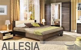 Meble Bog-Fran sypialnia łoże, lustro, komoda, szafki nocne, szafa SYSTEM ALLESIA